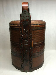 Vintage 3 Tier Nesting Carved Wood Woven Sewing Stacked Box Basket Large