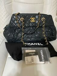 AUTH CHANEL BAG QUILTED CAVIAR IRIDESCENT CALFSKIN LEATHER CHIC BOWLING BLACK $2890.00