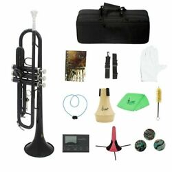 Bb Flat Trumpet Brass With Mouthpiece Carry Bag Tuner Mute Trumpet Stand Gloves