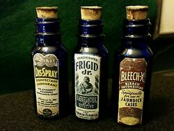 Vintage Style Small Embalming Bottles Blue Glass..handcrafted By Artist.nice