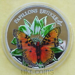 2011 Cameroon Butterfly 3d Silver Proof Colored Coin Wildlife Wwf Fauna Red Book