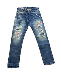Polo Sullivan Slim Distressed Patchwork Patch Jeans Nwt 34 X 30