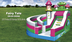 25x20x20 Commercial Inflatable Fairy Tale Water Slide Pvc Bounce House Obstacle