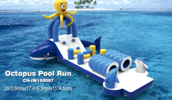 30x10x15 Commercial Inflatable Octopus Floating Obstacle Course Slide Bounce Pvc