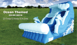25x15x15 Commercial Inflatable Ocean Water Slide Bounce House Obstacle Course