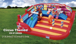 25x25x10 Commercial Inflatable Circus Bounce House Water Slide Obstacle Combo