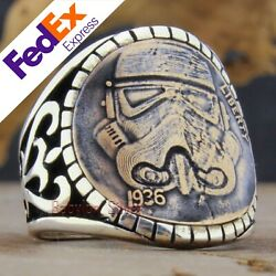 Liberty 1936 Design 925 Sterling Silver Gothic Bikers Menand039s Ring All Sizes