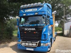 To Fit Scania 4 Series Topline Cab Roof Bar + Jumbo Led Spots + Clear Beacons