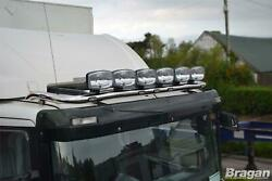 To Fit 21+ Volvo Fmx Globetrotter Xl Roof Bar + Jumbo Led Spots+leds Stainless