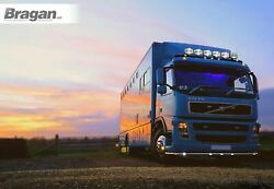 To Fit Volvo Fm Series 2 And 3 Low Cab Black Steel Roof Bar+jumbo Led Spots+leds
