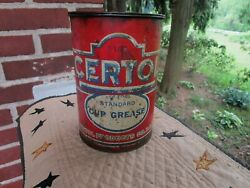 Vintage Certol Cup Grease Advertising Can Gas Station Oil Sign Tin Garage