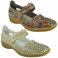 Rieker 413g7 Ladies Leather Padded Cut Out Flats Mary Jane Casual Slip On Shoes