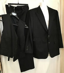 Tom Ford Mens 3pc Suit Black Wool Peak Collar Single Breasted Size 46long