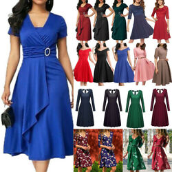 Lady Summer Casual Rockabilly Midi Dress Cocktail Party Swing Skater Sundress Us