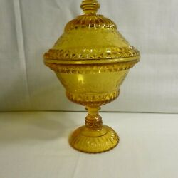 Bryce Bros Amber Covered Candy Dish - Wildflower Pattern By Adams - Eapg - Mint