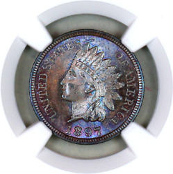 1897 Ms64 Bn Ngc Indian Head Penny Premium Quality Monster Toning