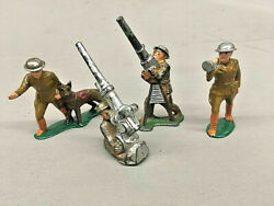 1930's Barclay Manoil Ww1 Toy Military Soldiers 4 Pieces