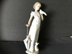 Lladro Lady With A Dove, Cat, And Umbrella With A Pearl Handle Perfect Condition