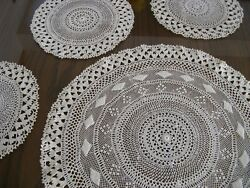 Vintage Needle Lace Tablecloths, Handmade, White, Set Of Four