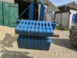 Set Of 10 John Deere Front Weights 40 Kg Each On 3 Point Weight Frame Ford Blue