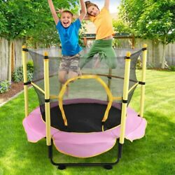 5ft Trampoline With Safety Enclosure Net Outdoor And Indoor Toddler Trampoline