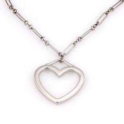 And Co. 18k White Gold Chain Link Medium Open Heart Pendant Necklace