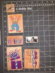 Used Lot Of 6 Birthday Wood Mounted Rubber-stamps