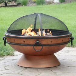 Round Outdoor Fire Pit Bowl Durable Solid Construction With Portable Handles New