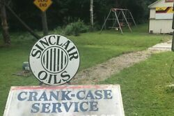 Gas Oil Porcelain Advertising Sign Sinclair Oils Double Sided 30 Inch Diameter