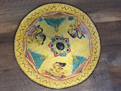 Vintage Conical Hat Asian Coolie Straw Bamboo Hand Painted Farm Gardening Beach