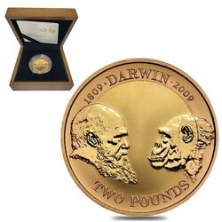 2009 Great Britain 2 Pounds Charles Darwin Proof Gold Coin W/box And Coa
