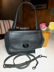 COACH F22348 FAYE MIXED MATERIALS LEATHER SATCHEL CARRYALL BLACK $75.00