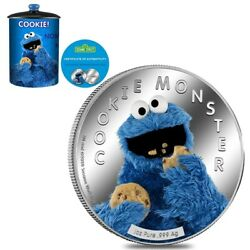 2021 Samoa 1 Oz Colorized Silver Cookie Monster Coin - Sesame Street W/box And Coa