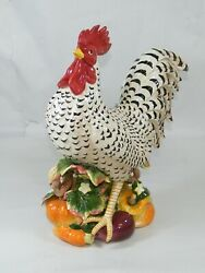 Fitz And Floyd Gardening Gourmet 16 Black And White Speckled Rooster