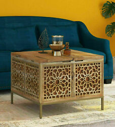 Antique Gulmohar Solid Wood Trunk Table Box In Natural And Gold Finish Home Decor
