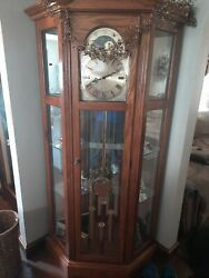 Ridgeway Curio Grandfather Clock Model Vintage Exc Cond With Hermle Movement