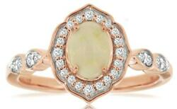 .71ct Diamond And Aaa Opal 14kt Rose Gold 3d Oval And Round Flower Filigree Fun Ring