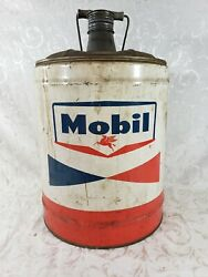 Vintage Mobil 5 Gal. Gear Lubricant Can - Pegasus - Socony Mobil Oil Company