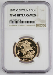 Great Britain Uk 1992 2 Pound/sovereign 0.47 Oz Agw Gold Proof Coin Ngc Pf69 Uc