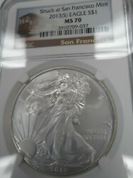 2013s Ms70 Perfect Silver Eagle See Pictures, Ngc Sf Trolley, Free Shipping