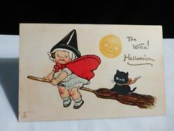 Htf Vintage Halloween-campbell Kid Witch W/ Cat On Broom-rare By Tuck