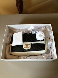 Authentic Chanel Flap Bag Black White Light Gold Receipt Included $2550.00