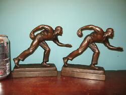 Antique Bocce Lawn Bowling Sport Bookends Pompeian Bronze Clad, Orig Finish 1925