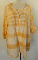 Relativity Pleated Front 3/4 Roll Tab Sleeve Tunic Top Size 2x