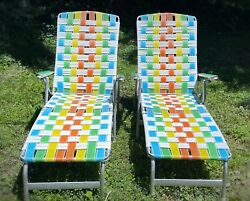 Matched Pair Vintage Aluminum Webbed Folding Lawn Chairs Mid Century Lounge