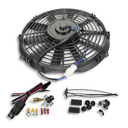 12 Electric Straight Blade Reversible Cooling Fan 12v 1550cfm W/ Thermostat Kit