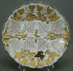 Andrea Sadek Relief Molded Gold Grapes And Pink Leaves 8 1/4 Plate C. 1936-50s D