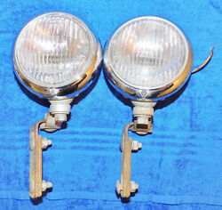 Antique 1930and039s 1940and039s Car Truck Auto Lamp Model-15 Fog Lamps Clear Ge Fog Lights