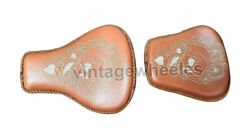 Customised Skull Seat Tan For Rider And Pillion Seat For Royal Enfield Standard