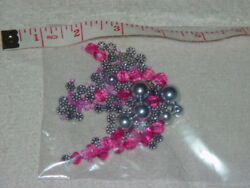 Pink And Sliver Color Loose Beads Different Size